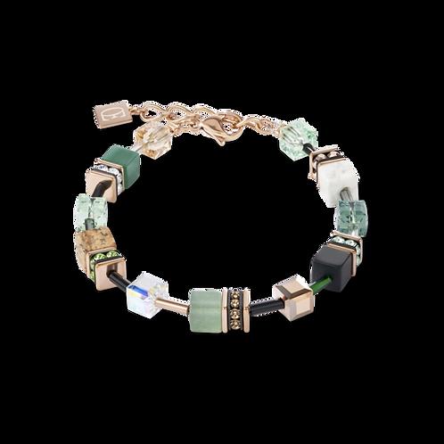 COEUR DE LION Bracelet GeoCUBE® Swarovski® Crystals & Gemstones green-beige