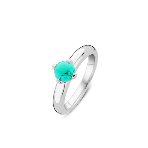 Ti Sento Ring crafted in Silver rhodium plated with Turquoise Crystal Stone