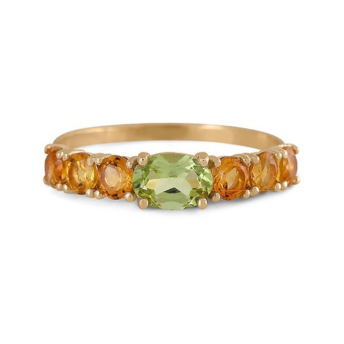 GOLD RING 14CK Yellow Gold with  Natural Peridott and Citrin Brilliant Stones
