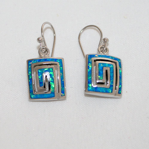 GREEK KEY DESIGN MEANDROS Sterling Silver Opal Earrings