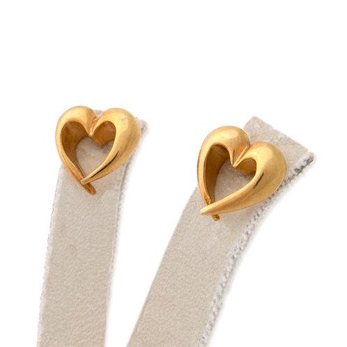 LOURDAS HEART GOLD  STERLING SILVER EARRINGS