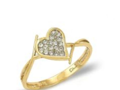 GOLD RING 14CK Yellow  Gold With Heart Design and Brilliant Round Cut Zirconia