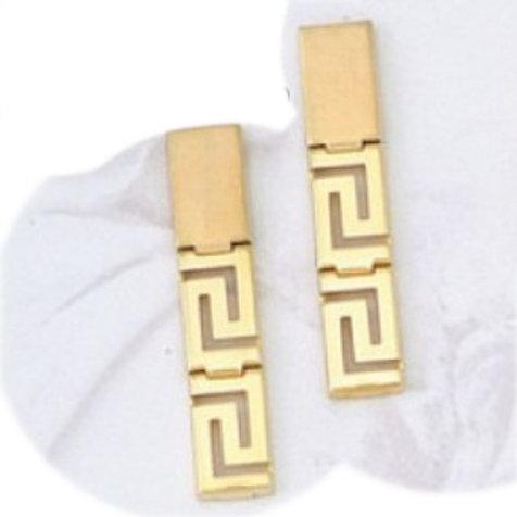 GREEK KEY DESIGN MEANDROS 14ck  YELLOW GOLD Drops  Earrings