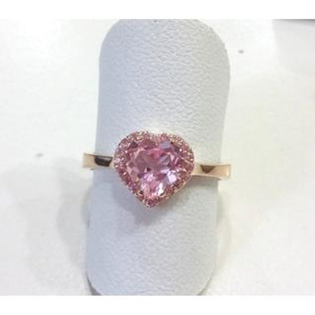 GOLD RING 14CK Gold with  Fancy Color Cubic Zirconia in Brilliant Round Cut