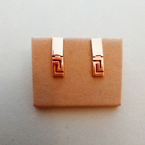 GREEK KEY DESIGN MEANDROS ROSE AND WHITE STERLING SILVER EARRINGS