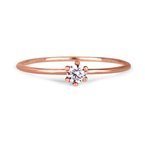 EOSE GOLD RING 14CK  Rose Gold witn Diamond B0.10 in  Brilliant Round Cut