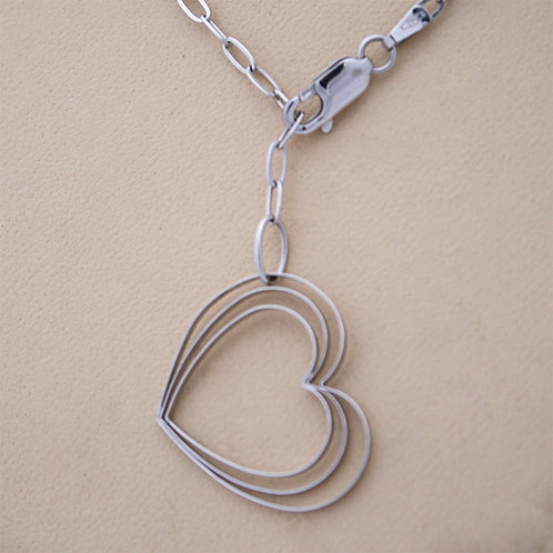 GOLD Necklace 14ck White Gold with Heat Design in a row