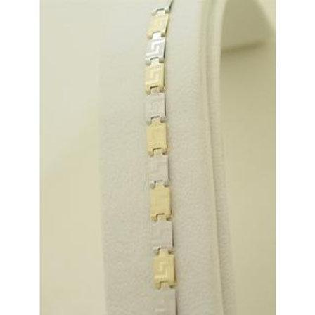 GOLD GREEK KEY Meandros Bracelet 14ck Yellow & White Gold
