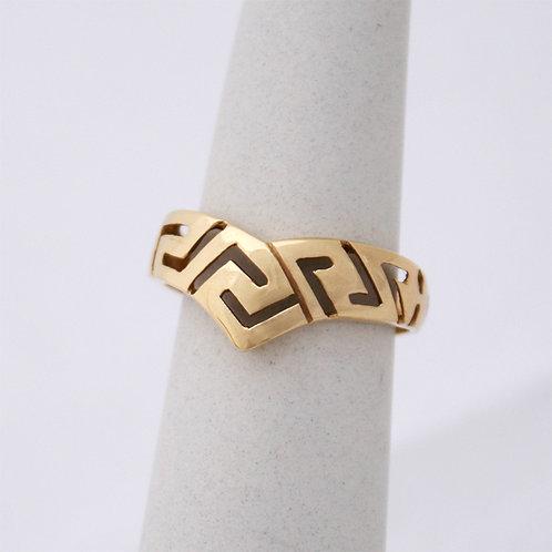 HANDMADE 14ct GOLD MEANDROS WISH BONE DESIGN RING