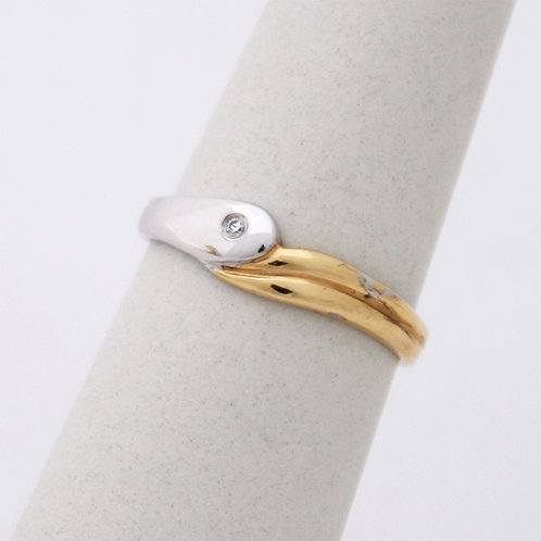 GOLD RING 14CK Gold Two Tone White&Yellow Gold with Brilliant Cut Cubic Zirconia