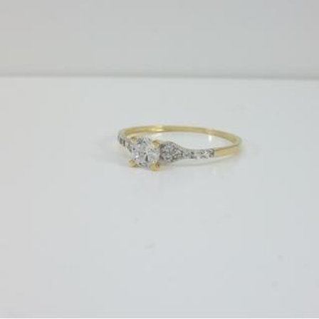 GOLD RING 14CK Gold with Cubic Zirconia in Brilliant Round Cut