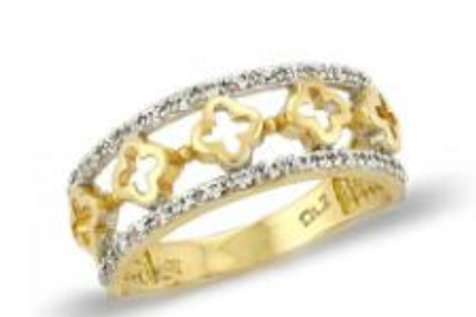 GOLD RING 14CK Yelllow and White Gold with Brilliant Round Cut Cubic Zirconia