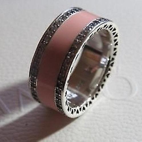 Pandora Pink Enamel Ring with Cubic Zirconia