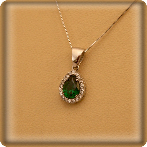 GOLD Necklace14ck White Gold  with Pear Cut Emerald and Cubic Zirconia