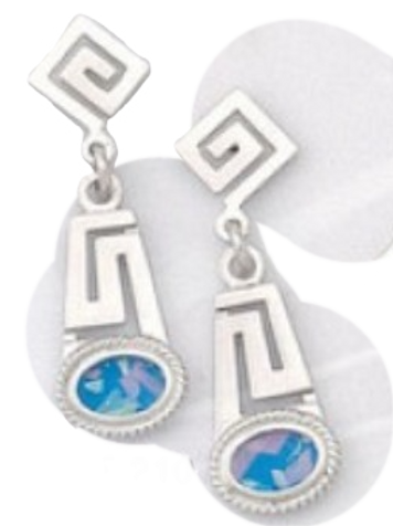 GREEK KEY DESIGN MEANDROS Sterling Silver   Earrings with Natural Blue Opals