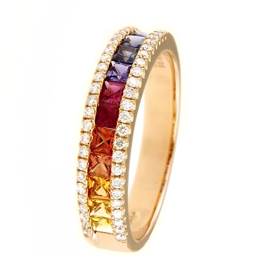 GOLD RING 18CK ROSE GOLD With Natural Saphires and Diamonds
