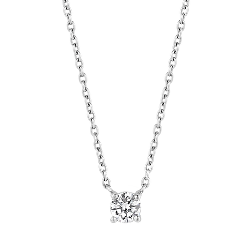 Ti Sento Necklace crafted in Silver rhodium plated with zirconia White Stone