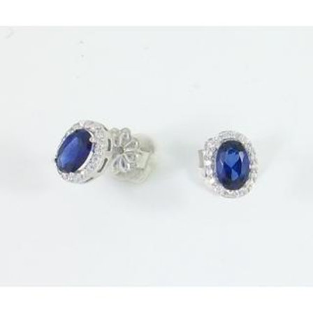 GOLD EARRINGS 14CK WHITE Gold With Fancy Color Stones in Brilliant Round Cut