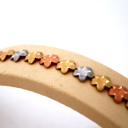 GOLD Bracelet WHITE,YELLOW & ROSE Gold 14ck Gold With Flower Design
