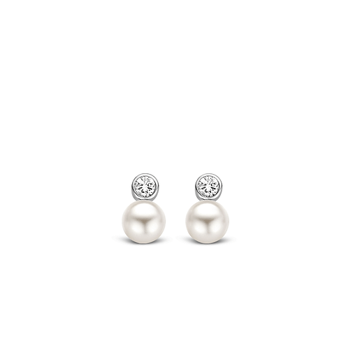 Ti Sento Earrings in rhodium plated sterling silver with White pearls& zirconias
