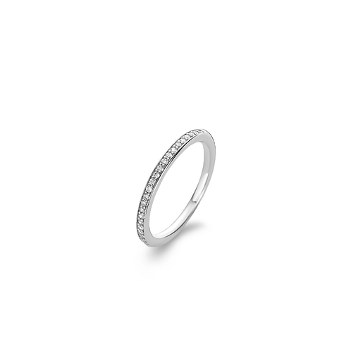 Ti Sento Ring with a delicate row of pavé-set cubic zirconias.
