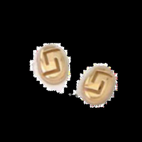 GREEK KEY DESIGN MEANDROS 14ck  YELLOW GOLD Stud  Earrings