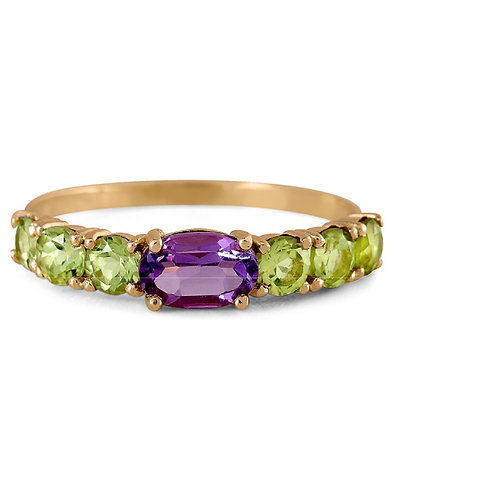 GOLD RING 14CK Yellow Gold with Genuine Amethyst and  Natural Peridots