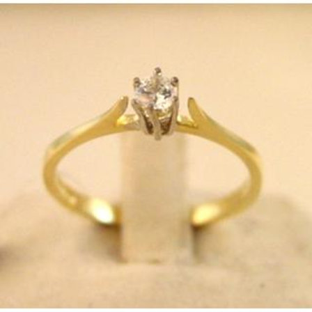GOLD RING 14CK YELLOW Gold with Cubic Zirconia in Brilliant Round Cut
