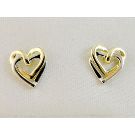 GOLD EARRINGS 14CK Gold Hearts DESIGN ,WHITE, YELLOW & ROSE Gold