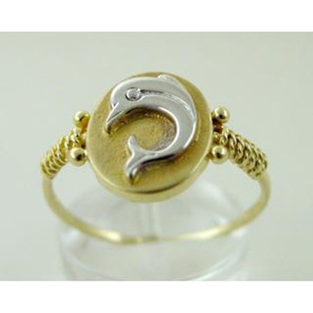 GOLD RING 14CK Yellow Gold with White Gold Dolphin Design
