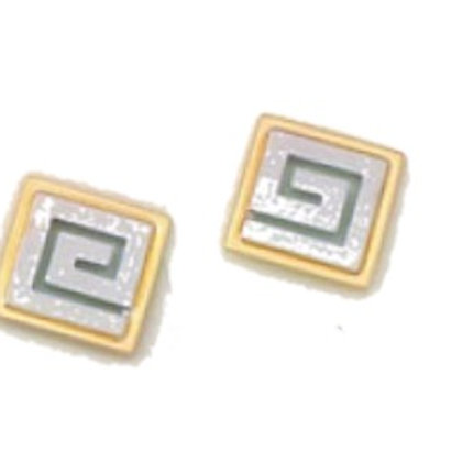 GREEK KEY DESIGN MEANDROS 14ck  YELLOW and WHITE GOLD Stud  Earrings