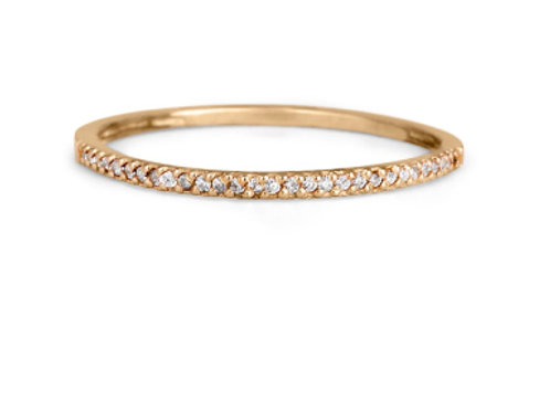 GOLD RING 14CK ROSE  Gold with Diamonds in Brilliant Round Cut
