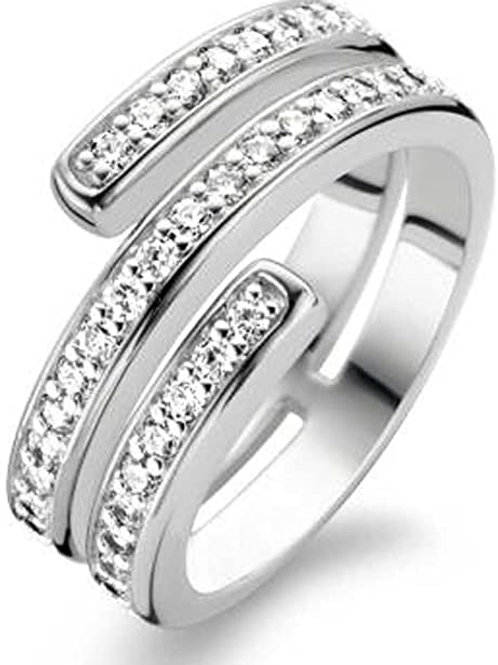 Ti Sento Coil Ring  Crafted  in silver rhodium plated with cubic zirconia Stones