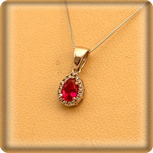 GOLD Necklace14ck White Gold with Ruby in Pear Cut Shape & White Cubic Zirconia