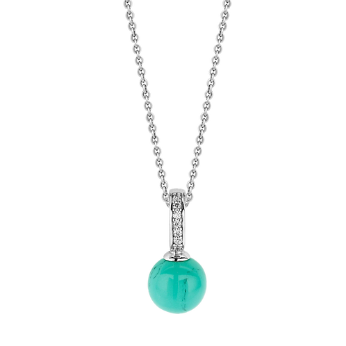 Ti Sento Necklace crafted with Silver rhodium plated , Crystal colour Turquoise