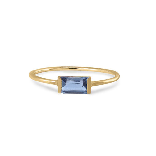 GOLD RING 14CK Yellow Gold with London Blue Topaz in Princess Cut