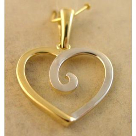 Gold Pendant 14ck White & Yellow Gold  Cephalonia Heart Design with Greek Style