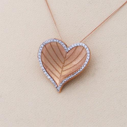 GOLD Necklace14ck Rose Gold Heart Design Matt Finish with Cubic Zirconia