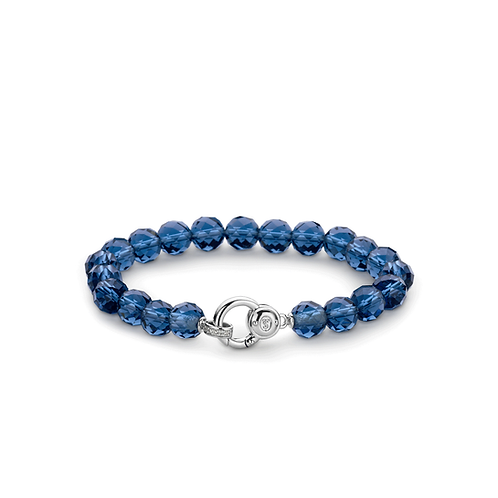 Ti Sento Bracelet made of dark faceted  Blue Breads crystals