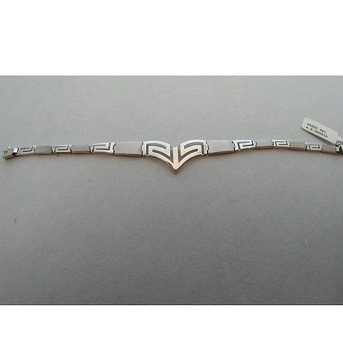 GREEK KEY DESIGN MEANDROS MATT FINISH STERLING SILVER BRACELET