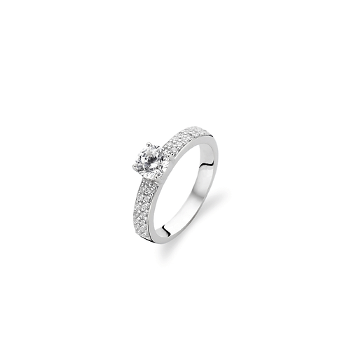 Ti Sento Ring two rows of pavé set cubic zirconias and a large crystal round cut