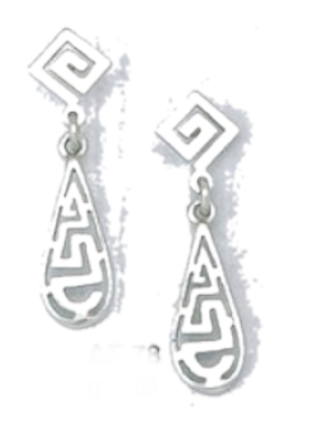 GREEK KEY DESIGN MEANDROS  Sterling Silver Earrings