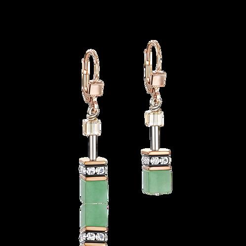 COEUR DE LION Earrings GeoCUBE® Swarovski® Crystals & Gemstones green-beige