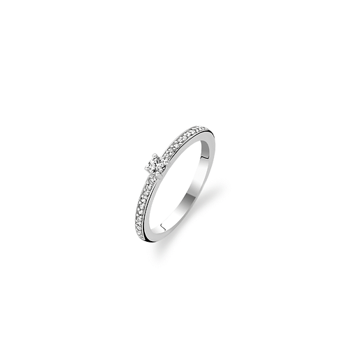 Ti Sento Ring with  a band  of pave  set Crystals