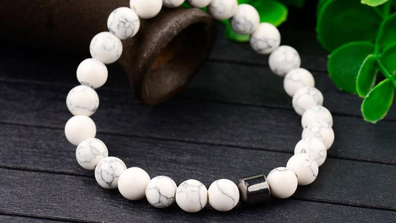 Haima Lava Hematite Bracelet - White