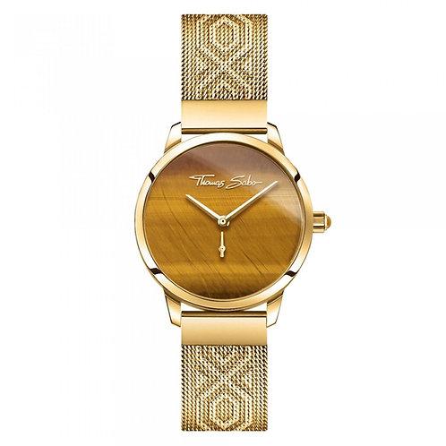 THOMAS SABO Women's Watch GARDEN SPIRIT TIGER'S EYE GOLD Stainless Steel