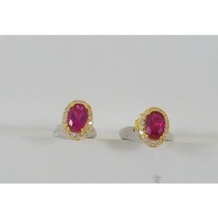 GOLD EARRINGS 14CK YELLOW Gold with Fancy Color Stones in Brilliant Round Cut