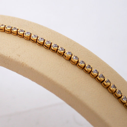 GOLD Tennis  Bracelet  18ck Yellow Gold with Brilliant Round Cut Cubic Zirconia