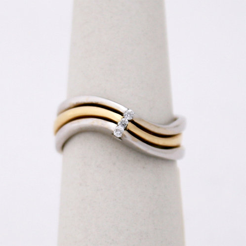 GOLD RING Two -Tone 14CK Gold with Diamonds in Brilliant Round Cut
