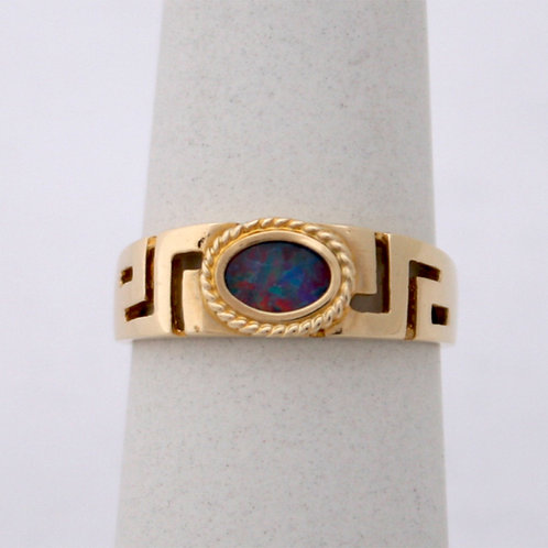 HANDMADE 14ct GOLD RING WITH OPAL STONE